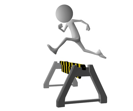 roadblock: 3d character jumping over a yellow black  roadblock Stock Photo