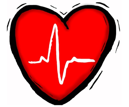 heart medical: medical heart showing a heart beat reading in centre Stock Photo