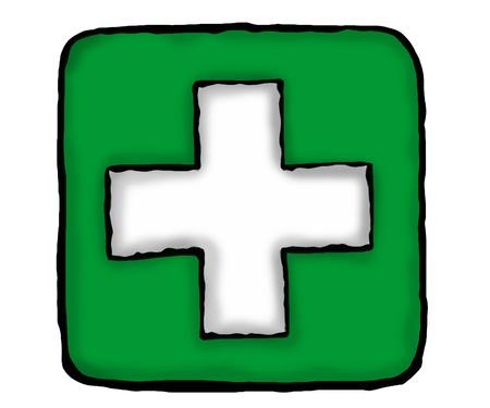 Médico signo más verde en color con efecto 3d Foto de archivo - 9951685