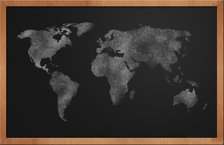 antique sleigh: World Map on Blackboard drawn with chalkdust Stock Photo