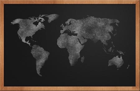 World Map on Blackboard drawn with chalkdust Stock Photo