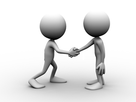 Two men shaking hands and agreeing on something Stock Photo