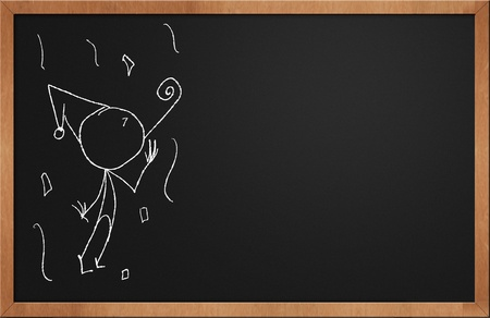Party Time stick figure on chalkboard