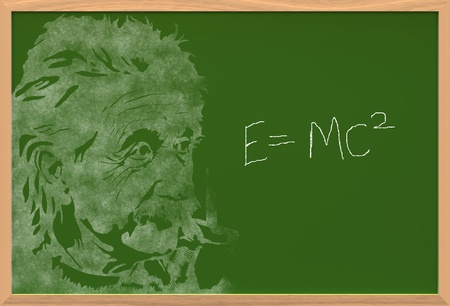 albert: einstein on chalkboard with e is equal to mc square