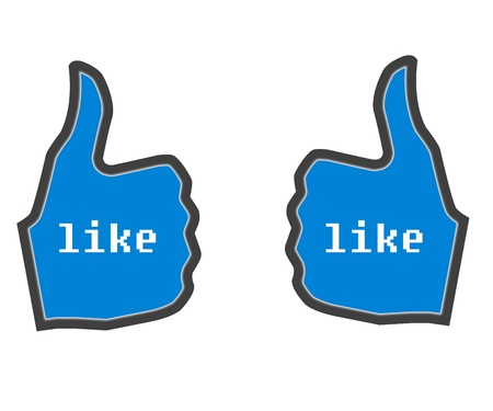Thumbs Up LIKE blue  used in social websites Stock Photo