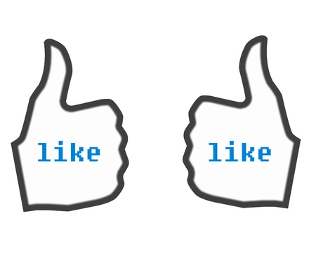 Thumbs Up LIKE white used in social websites Stock Photo
