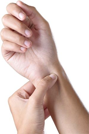 female hands make acupressure on the wrist