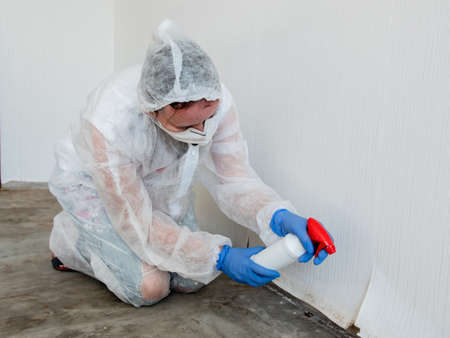 A woman in a protective suit, using a spray gun to spray the affected walls with mold.