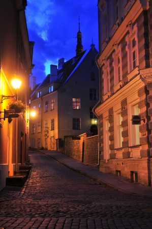 cobblestone street: Night Street in the Old Town of Tallinn, Estonia