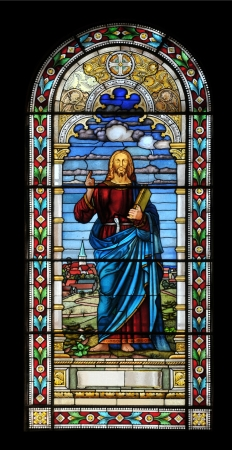 Stained glass window with jesus in church, Latvia