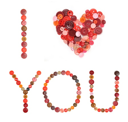 I love You, made from sewing buttons Stock Photo - 17506835