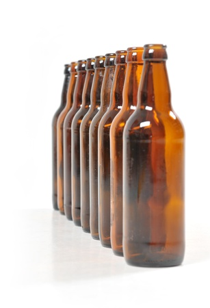 nine empty bottles of beer photo