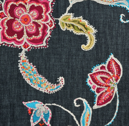 blubber:  embroidered fabric wallpaper