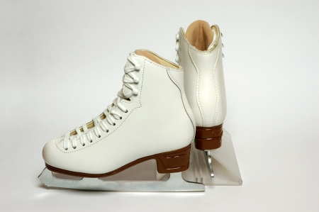 figure skate: par de blanco figura pat�n