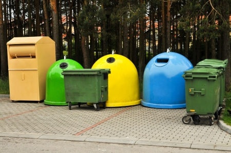degradable: Colorful Recycle Bins In The Park