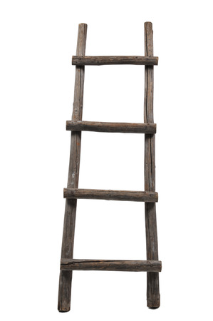 Old wooden ladder on the white background Standard-Bild
