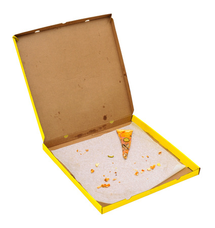pizza box with  one pizza slice photo