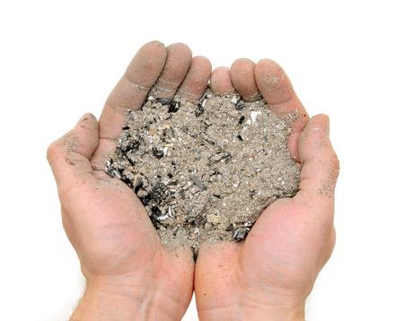 sinner: handful ashes Stock Photo