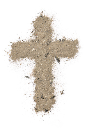 pilgrimage: cross made of ashes Stock Photo