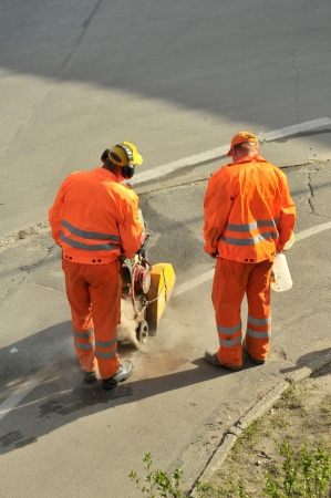 Cutting road works photo