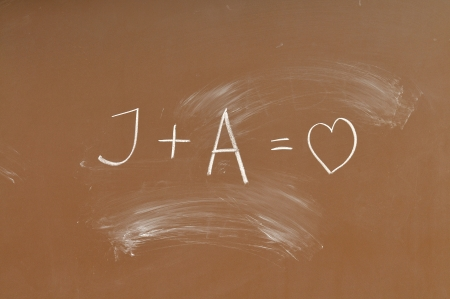 blackboard with love symbol photo
