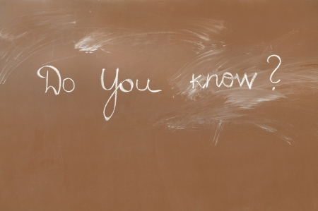 subtitle: Brown blackboard with question Stock Photo