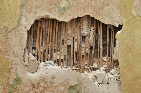 uncovering: old Plaster uncovering reed