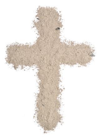 灰から成っている十字