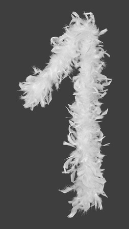 white feather: Number 1 made of feather boa