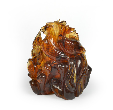 fossilized: Amber work of art Stock Photo