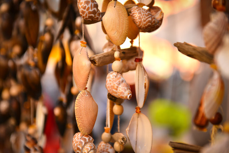 wind chime: Hanging wind chime made from shells