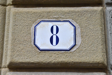 eight: porcelain house number eight