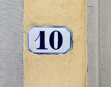 number ten: porcelain house number ten Stock Photo
