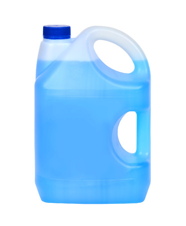 Bottle with blue window cleaning liquid