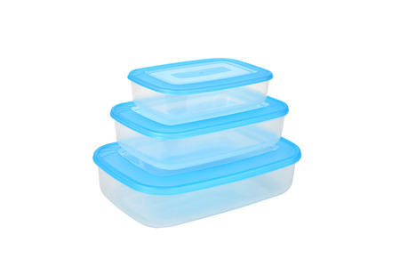 envases plasticos: Three plastic containers for food