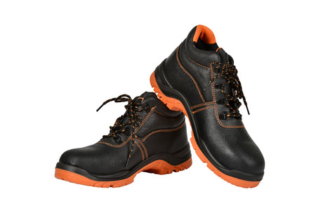 Pair of new black working boots Stock Photo