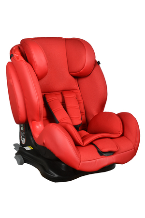 Red baby car seat isolated on white Imagens