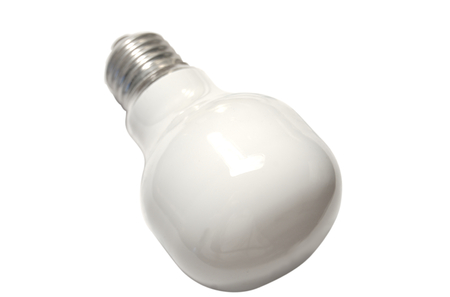 a white lightbulb isolated on a white background photo