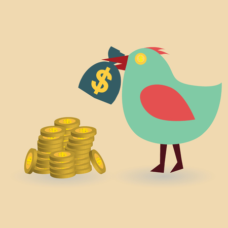 currency glitter: bird with money bag and stack coin, business concept, vector illustration