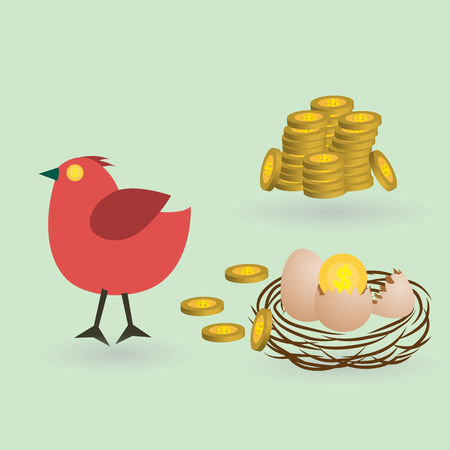 lay: bird lay coins from eggs on the nest, business launching concept, vector illustration Illustration