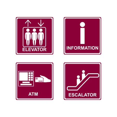 emporium: Elevator, escalator,information and ATM icons sign & symbols on pink background. Vector illustration