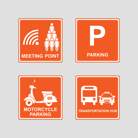 conflagration: Meeting point, parking area, transportation hub and motorcycle parking icons sign & symbols on orange background. Vector illustration Illustration