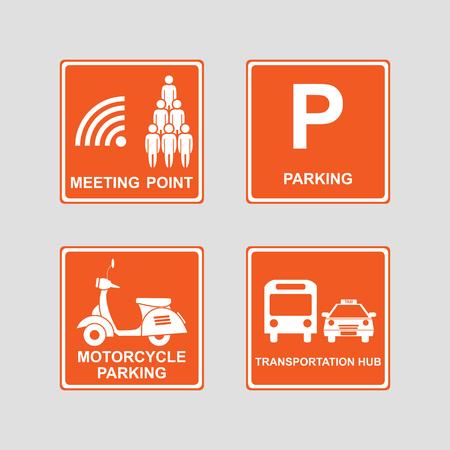muster: Meeting point, parking area, transportation hub and motorcycle parking icons sign & symbols on orange background. Vector illustration Illustration