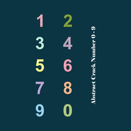 0 9: Modern Vector Crack Alphabet. Crack Font. Number Crack Letters. Modern crack pattern Lettering. Crack Alphabet 0 - 9
