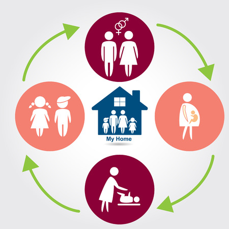 cycles: Family & life cycles, vector illustration Illustration