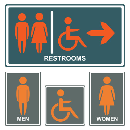 Vector restroom icons :men,women, lady, gentleman and disability