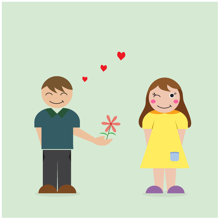 courtship: Boy give flower to girl, courtship and love concept. Vector illustration.