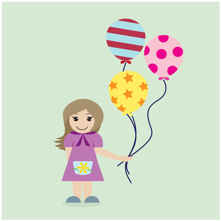 babby: Pretty girl with colorful balloons on background. Vector illustration. Illustration