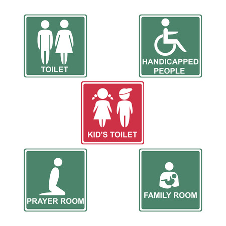 changing room: Toilet, kids toilet, handicapped people, pray room and family room on pink & green background. Vector illustration.