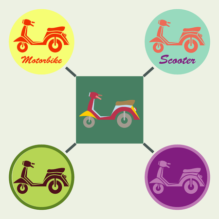 automatic: Scooter pattern design. Automatic motorcycle. Vector illustration